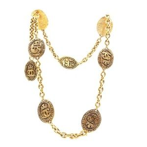 Cc Long Medallion Chain Belt Two Way Necklace